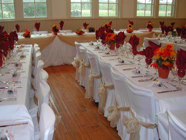 Carley Community Hall main floor with tables and chairs