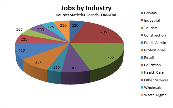 Pie Chart of Jobs in Oro-Medonte by Industry